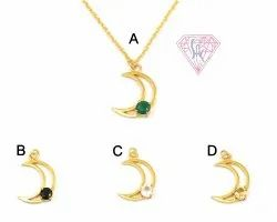 Multi Gemstone Gold Plated Moon Style Charm Necklace Pendant