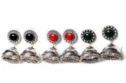 Black Onyx, Coral, Green Onyx Gemstone Jhumka Earrings Jewelry