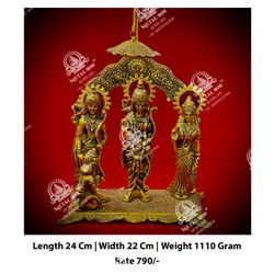 Golden Ram Laxman Sita Hanuman God Statue