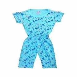 Cotton Half Sleeves Jumpsuit For Baby Girls