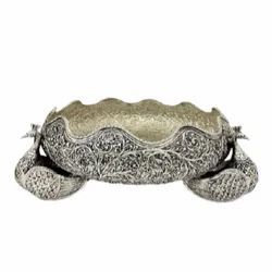 Antique Silver Plated Urli For Home Decoration