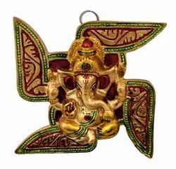 Gold Plated Ganesh Wall Hanging