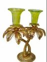 Gold Plated Double Candle Holder For Decoration & Gifting