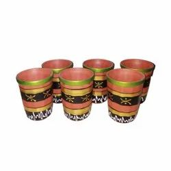 Multicolor Printed Glass Set Of 6