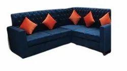 Modern Cushioned Fabric L Shape Sofa Set, For Sitting, Living Room