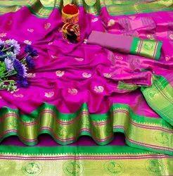 Banarasi Cotton Silk Saree, With Blouse, 5.5 M