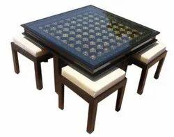 Brown Rectangular Wooden Center Table Stool Set, Size: 4x4feet