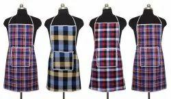 Multicolor Checked棉花围裙(一包4),适用于厨房,尺寸:自由尺寸