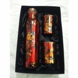 Printed Copper Water Bottle With 2 Glass Set
