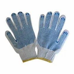 Full Fingered Blue Cotton Pvc Dotted Gloves