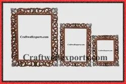 Brown Carving Wooden Rectangle Mirror/ Photo Frame Set, For Event