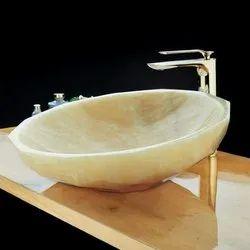 Stone Wash Basin(Table-Mounted Honey Onyx )