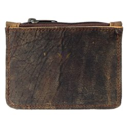 Leather Zippered Wallet, Holds up to 6 Cards Plus Bills & Coins, Handmade Brown Color 9x12 cm