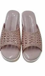 Medium Party Wear Brown Ladies Embroidered Sandal, Size: 8 Inch