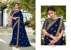 Casual Wear Embroidered Sarees, 5.5 m (separate blouse piece)