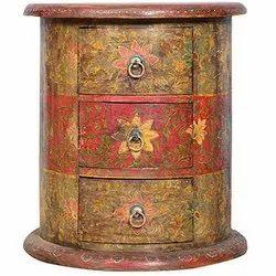Wooden Painted Cabinet Multicolour Floral Design