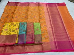 Wedding Wear Printed Ladies Banarasi Chanderi Silk Saree, 6.3m (With Blouse Piece)