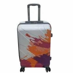 White and Orange Polycarbonate Luggage Trolley Bag, Size: 22inch