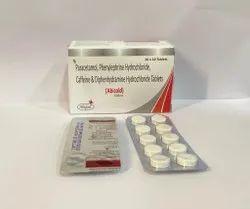 Paracetamol + Phenaylphrine Hydrocloride + Caffeine + Diphenhydramin Hydrocloride Tablets