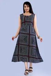 Round Neck Rayon Printed Cut Sleeves Kurta