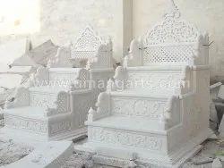 Handmade White Marble Masjid Mimber