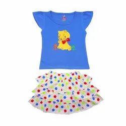 Sleeveless Top With Skirt For Kids Girls