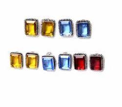 Blue Topaz, Garnet, Citrine Gemstone Stud Earrings Woman Jewelry