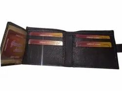 Brown Mens Button Leather Wallet, Card Slots: 5