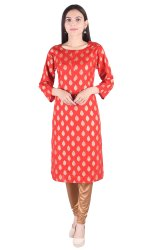 Round Neck Half Sleeves Ladies Rayon Kurta, 140
