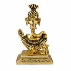 Gold Plated Pagdi Ganesh Statue For Home Decoration & Corporate Gifts.