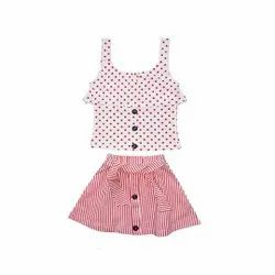 Sleeveless Top With Skirt For Baby girls