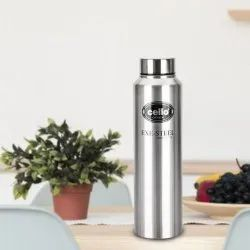 Silver Polished Cello Crysta Stainless Steel Water Bottle, 1000mL, Screw Cap