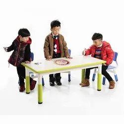 KinderArt Multicolor Writable Rectangle Table, Size: 120 X 60 X 46-58 Cms