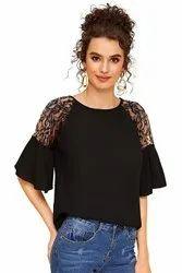 Polyester Lee Tex Net Sleeve T-shirt Black