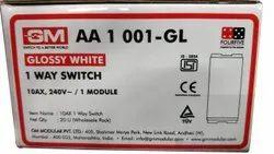 10 Amp Glossy White GM One Way Modular Switch, ON/OFF, 240 V Ac