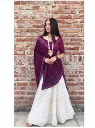 Georgette Semi-Stitched New Designer Bridal Wear Heavy Chine Work Lehengas Choli With Dupatta