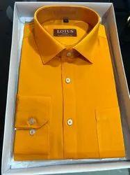 yellow Plain Mens Fancy Cotton Shirt, Size: Large