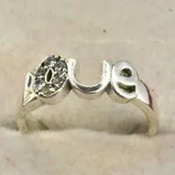 Silver Plated High Grade Crystal Love Ring For Engagement Ring, Propose Ring Adjustable Finger Ring