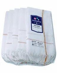 White Satara Jari Cotton Towel, Rectangle, Size: 27x54inch