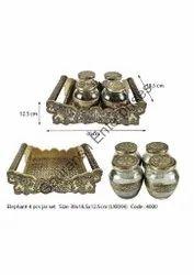 Meenakari Elephant 4 Pcs Jar Set Dry Fruit Box