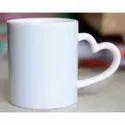 White Heart Handle Sublimation Mug