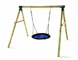 Brown Round Spider Monkey II Wooden Garden Swing Set, For Home
