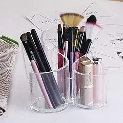 3 Slot Acrylic Makeup Organizer -Cosmetic Clear Acrylic Makeup Lipstick Organizer Brushes Holder