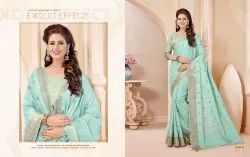 Silk India Embroidered Party Wear Sarees, 5.5 m (separate blouse piece), Machine Made