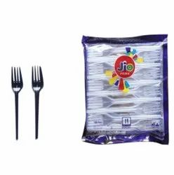 100 Piece 125mm Disposable Crystal GPPS Plastic Fork, For Event and Party Supplies