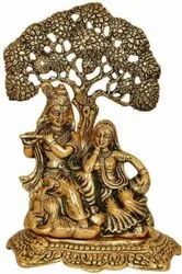 Gold Plated Radha Krishna Under The Tree Statue For Home Decoration & Corporate Gift