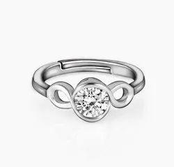 Silver Colour Solitaire Loop Ring