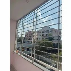 Polished Stainless Steel Window Grill, Rectangular, Material Grade: SS 304