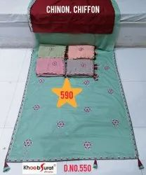 KHOOBSURAT CREATION Party Wear Chinon Embroidery Sarees, 6.3 m (with blouse piece)