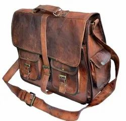 Rustic Big Pocket Cross Body Bag  Pure Leather Bag Brown Color (18 Inches)